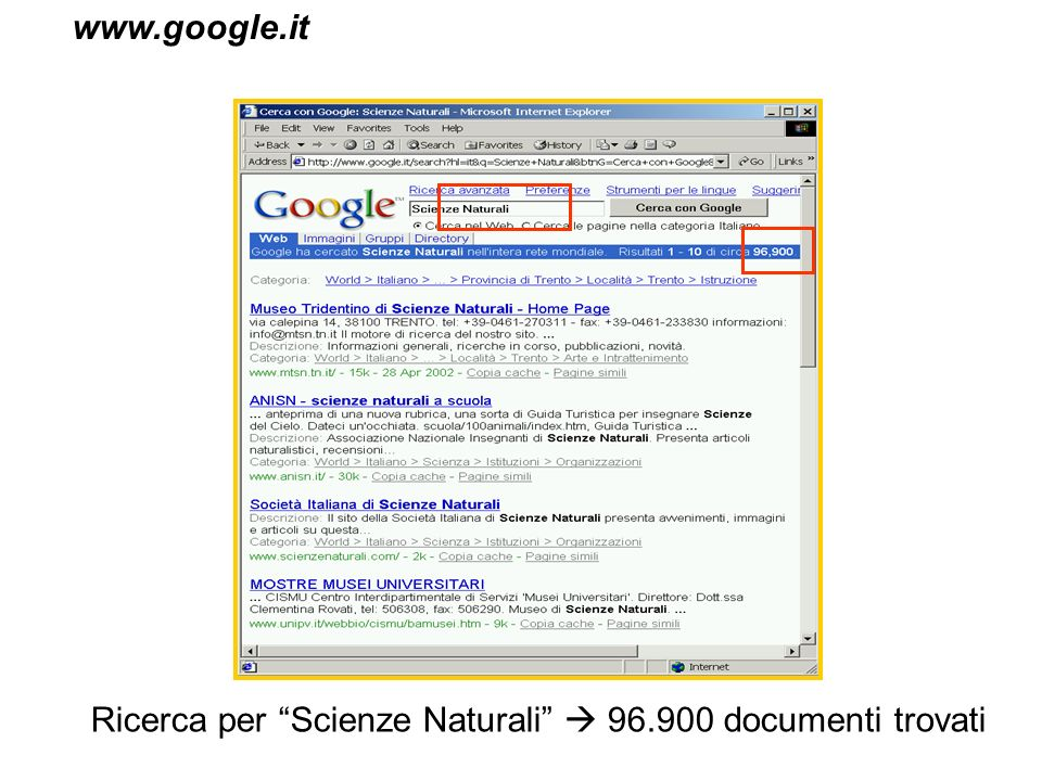www.google.it Ricerca per Scienze Naturali  96.900 documenti trovati