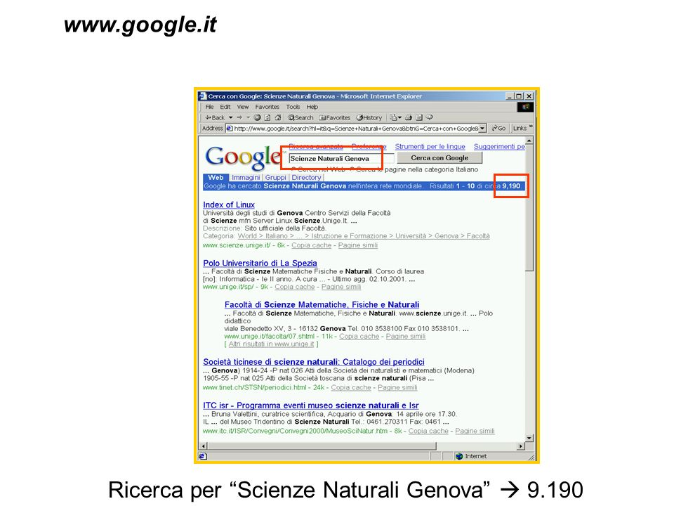 www.google.it Ricerca per Scienze Naturali Genova  9.190 documenti trovati