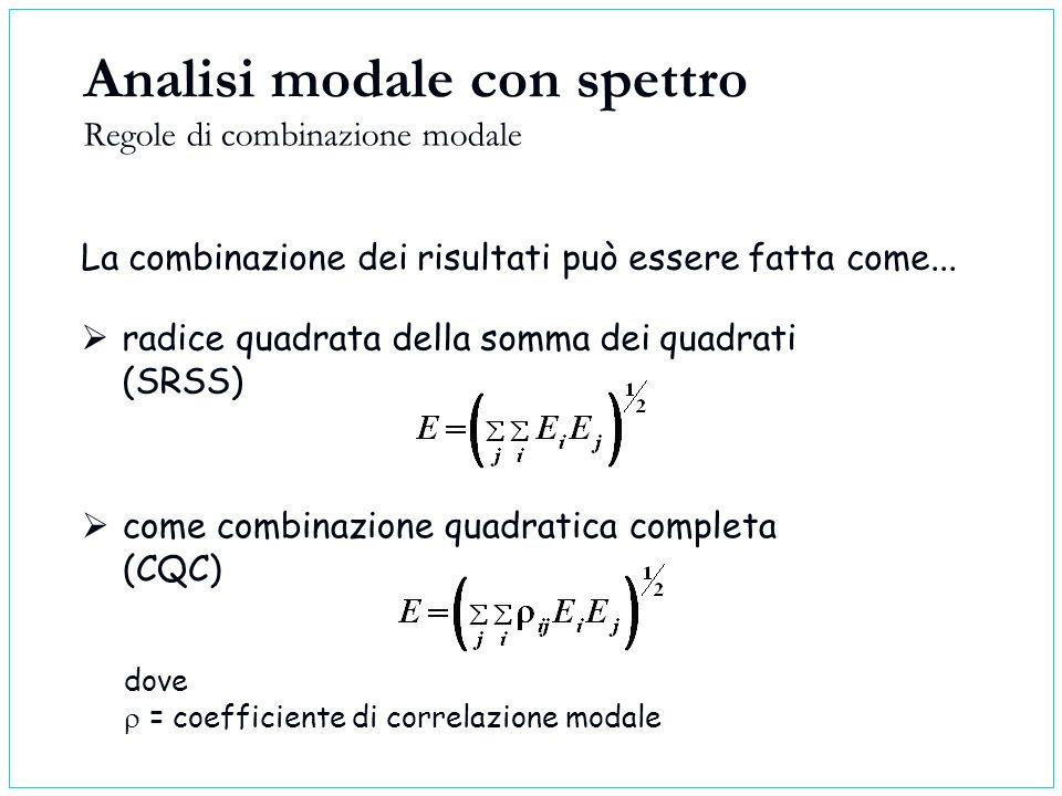 Analisi modale con spettro Regole di combinazione modale