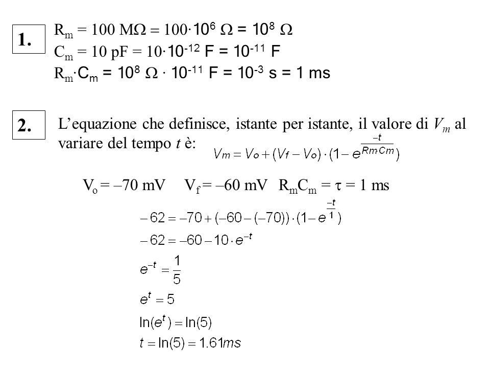 Rm = 100 MW = 100·106 W = 108 WCm = 10 pF = 10·10-12 F = 10-11 F. Rm·Cm = 108 W · 10-11 F = 10-3 s = 1 ms.