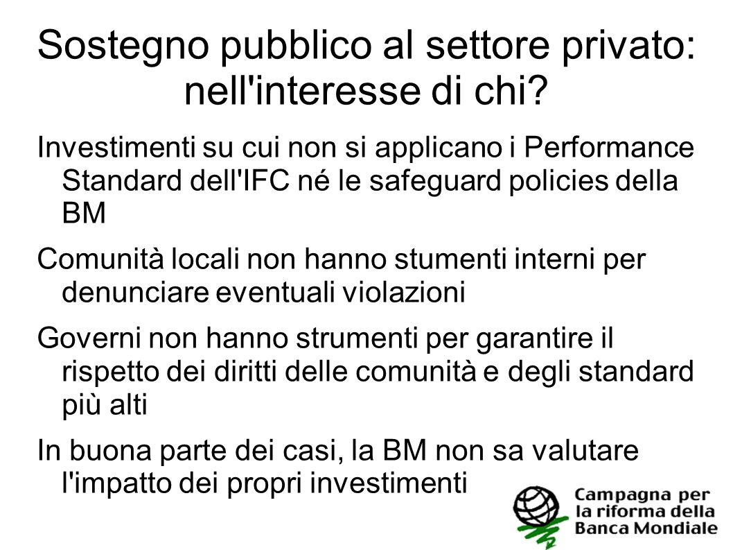 Sostegno pubblico al settore privato: nell interesse di chi