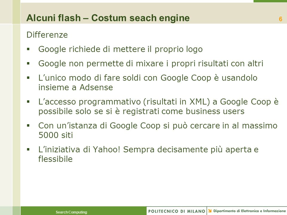 Alcuni flash – Costum seach engine