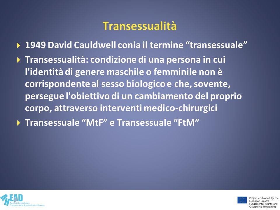 Transessualità 1949 David Cauldwell conia il termine transessuale