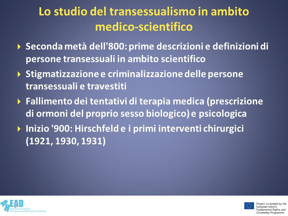 Lo studio del transessualismo in ambito medico-scientifico