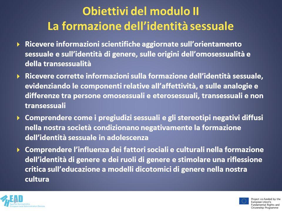 Obiettivi del modulo II La formazione dell'identità sessuale