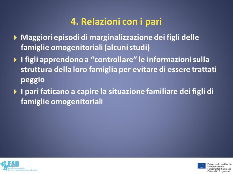 4. Relazioni con i pari Maggiori episodi di marginalizzazione dei figli delle famiglie omogenitoriali (alcuni studi)