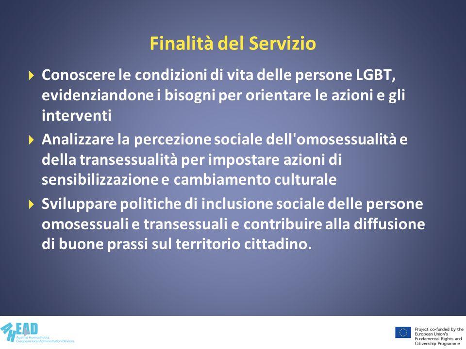 Finalità del Servizio Conoscere le condizioni di vita delle persone LGBT, evidenziandone i bisogni per orientare le azioni e gli interventi.