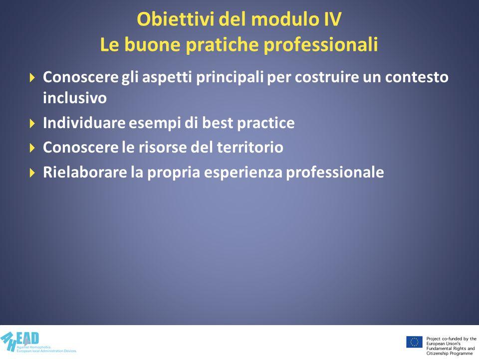 Obiettivi del modulo IV Le buone pratiche professionali