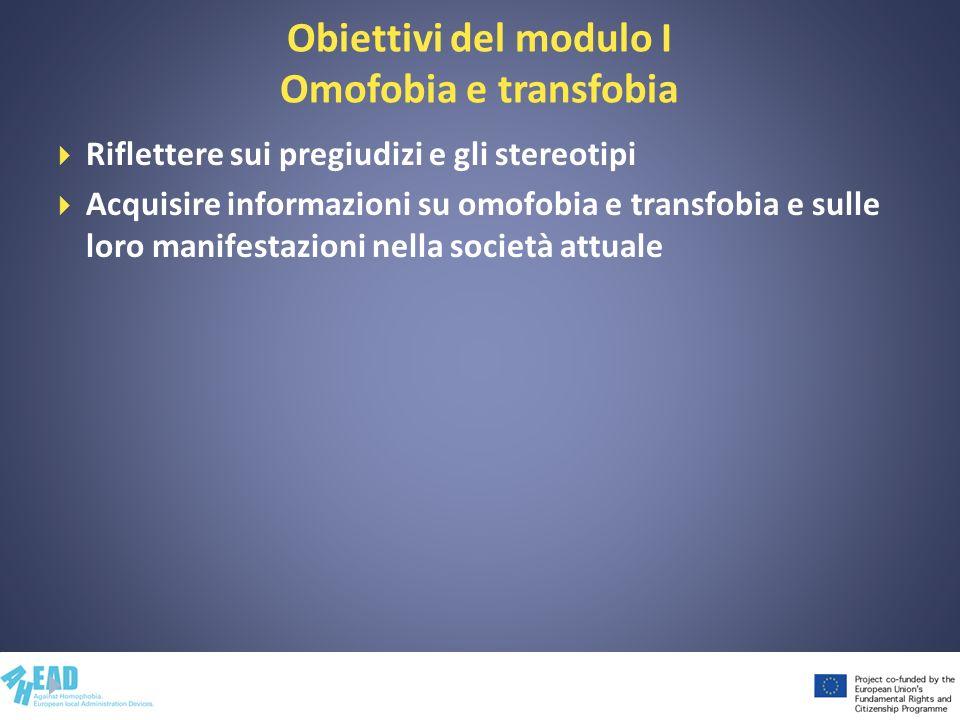 Obiettivi del modulo I Omofobia e transfobia