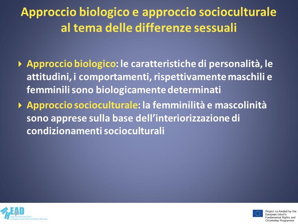 Approccio biologico e approccio socioculturale al tema delle differenze sessuali