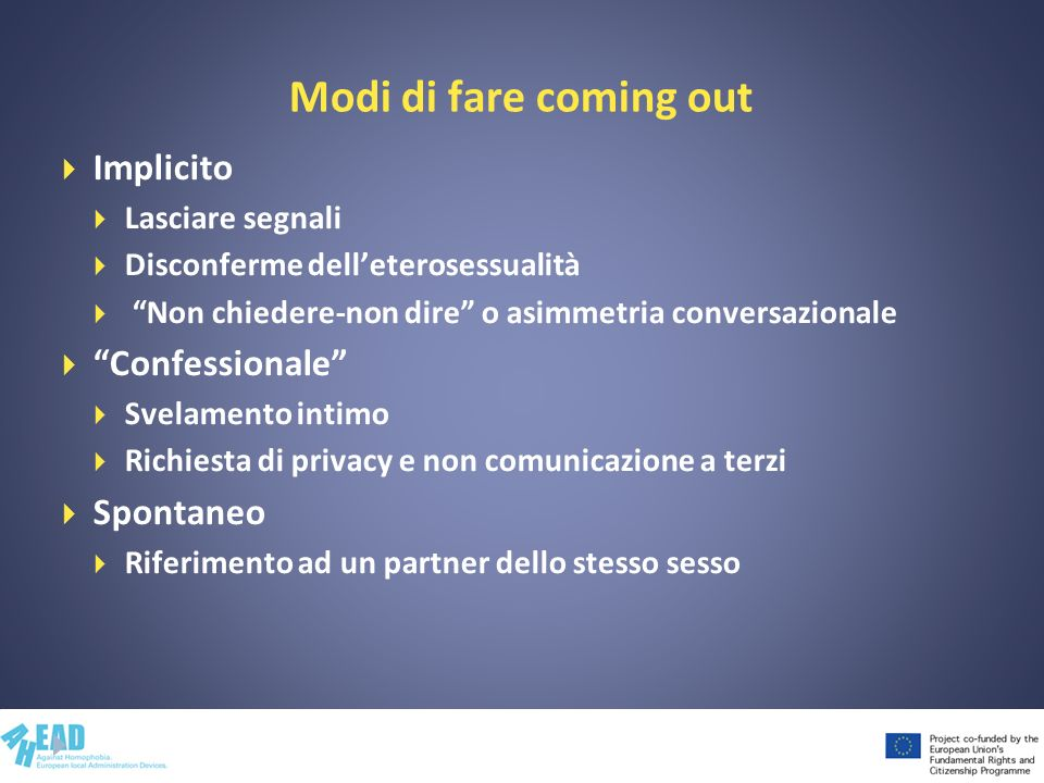 Modi di fare coming out Implicito Confessionale Spontaneo