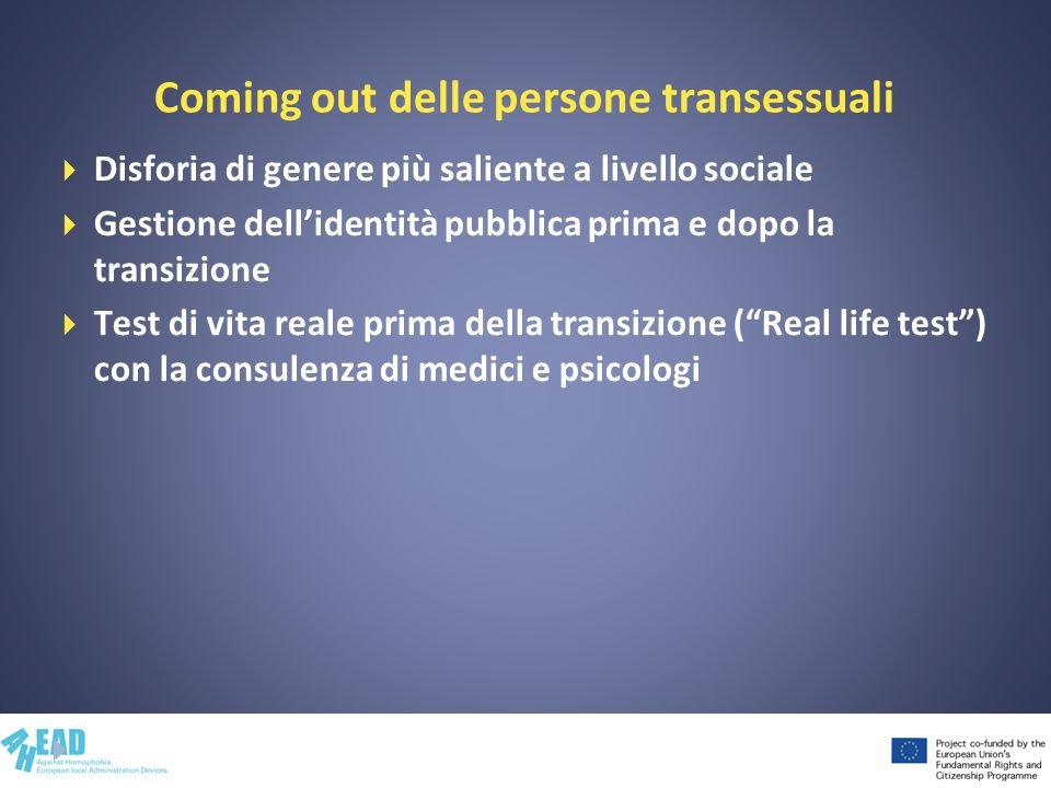 Coming out delle persone transessuali