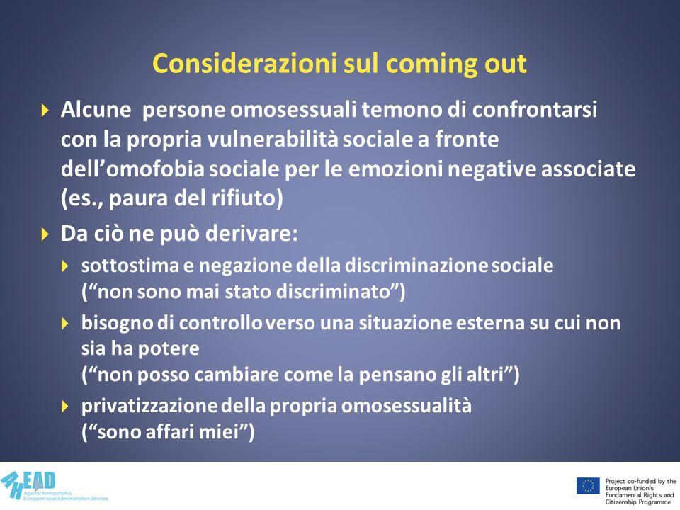 Considerazioni sul coming out