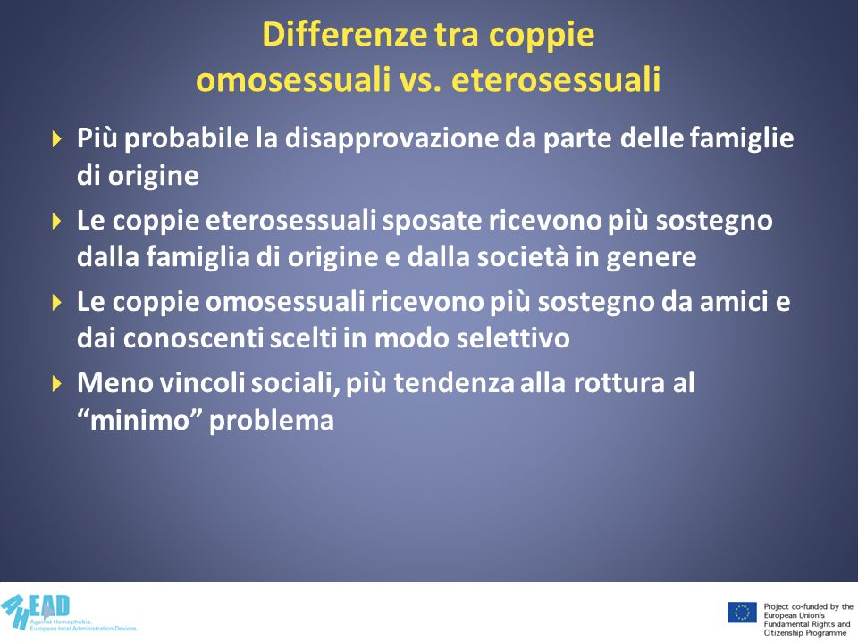 Differenze tra coppie omosessuali vs. eterosessuali