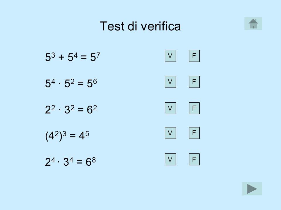 Test di verifica 53 + 54 = 57 54 · 52 = 56 22 · 32 = 62 (42)3 = 45