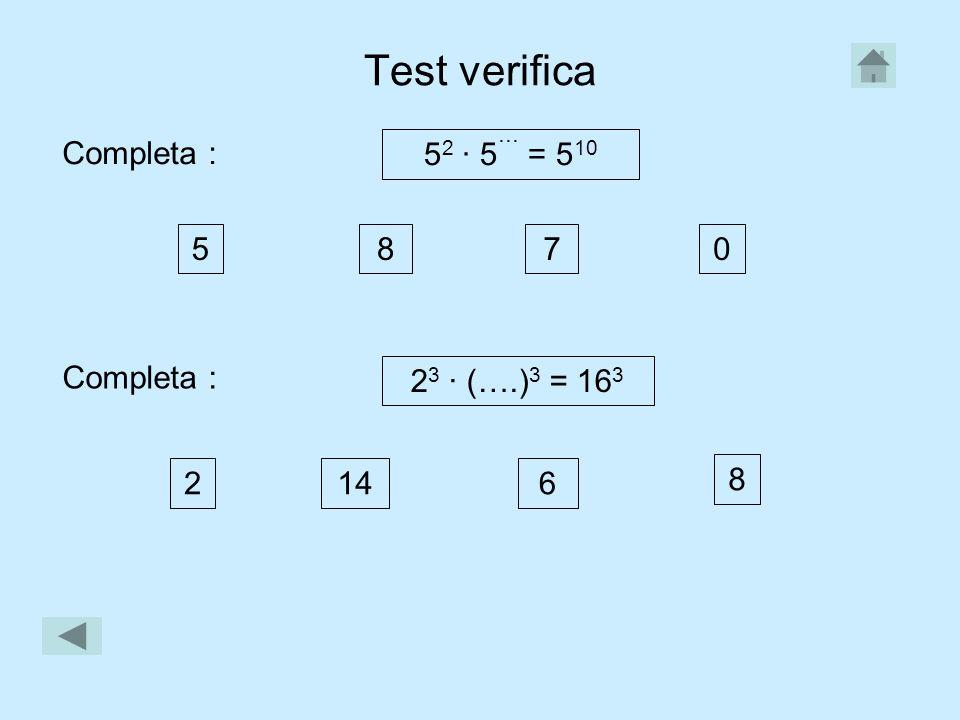 Test verifica Completa : 52 · 5˙˙˙ = 510 5 8 7 Completa :