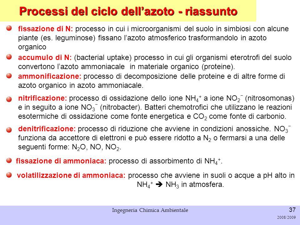 Processi del ciclo dell'azoto - riassunto
