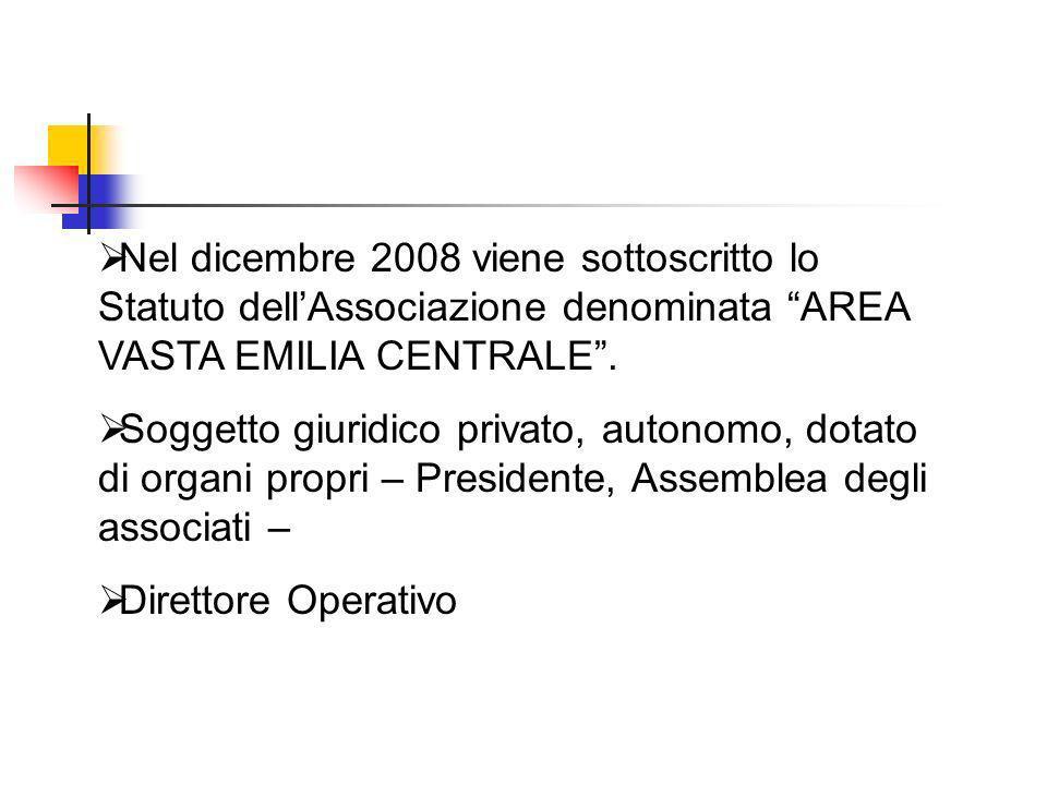 Nel dicembre 2008 viene sottoscritto lo Statuto dell'Associazione denominata AREA VASTA EMILIA CENTRALE .