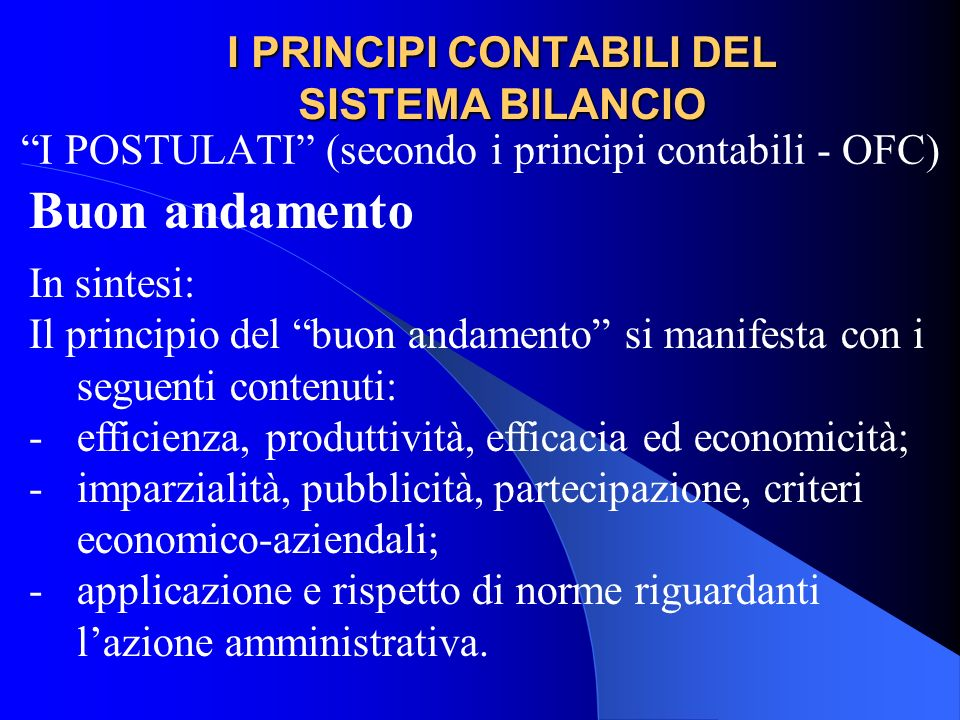I PRINCIPI CONTABILI DEL SISTEMA BILANCIO