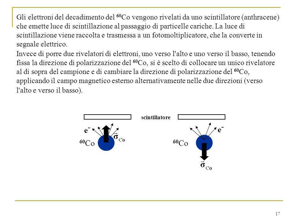 Gli elettroni del decadimento del 60Co vengono rivelati da uno scintillatore (anthracene) che emette luce di scintillazione al passaggio di particelle cariche. La luce di scintillazione viene raccolta e trasmessa a un fotomoltiplicatore, che la converte in segnale elettrico.
