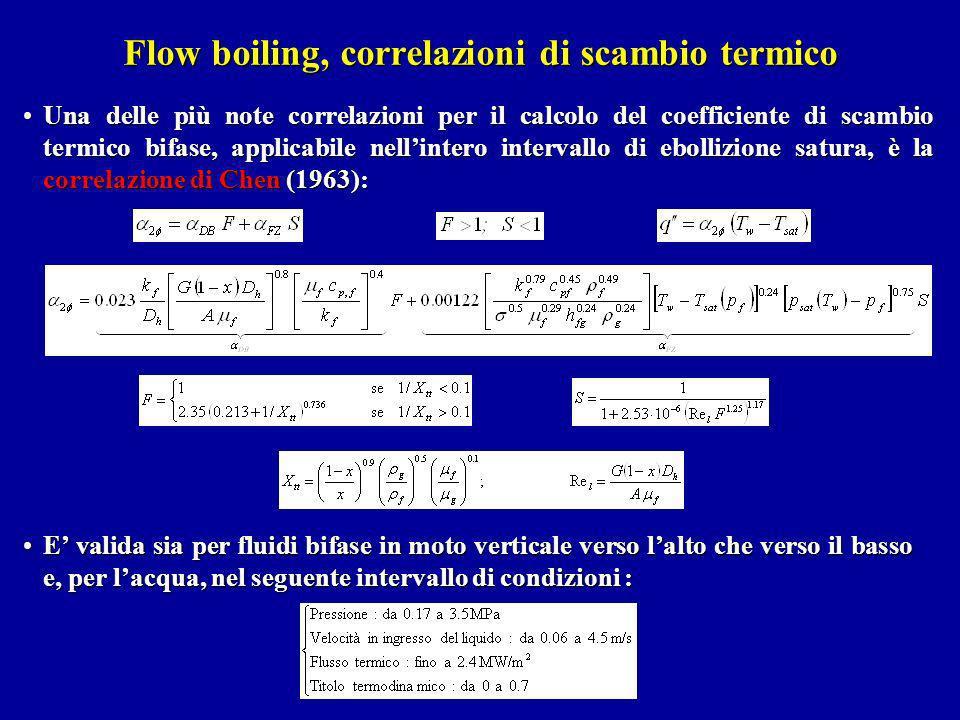 Flow boiling, correlazioni di scambio termico