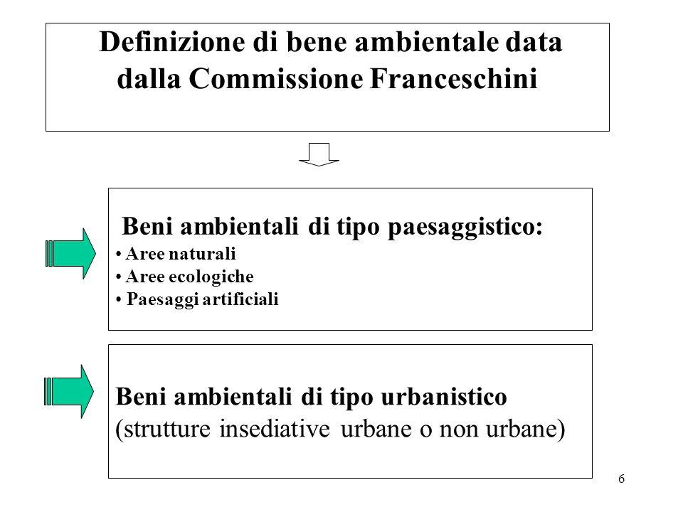 Definizione di bene ambientale data dalla Commissione Franceschini