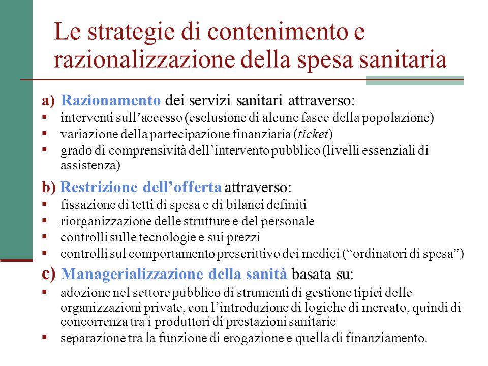 Le strategie di contenimento e razionalizzazione della spesa sanitaria