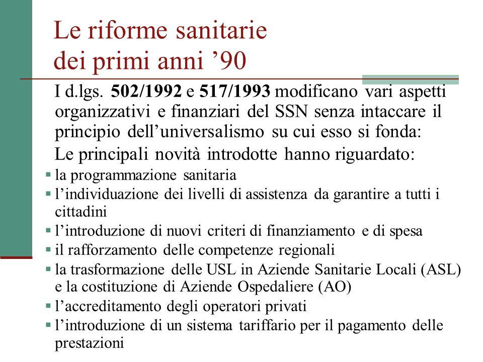 Le riforme sanitarie dei primi anni '90