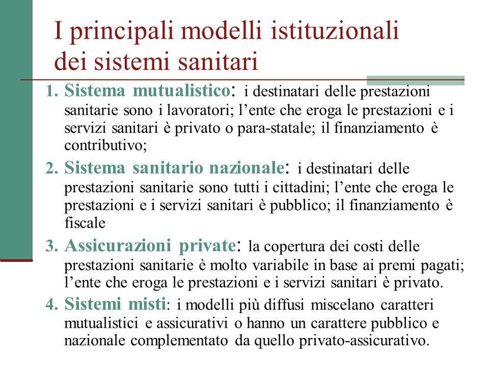 I principali modelli istituzionali dei sistemi sanitari