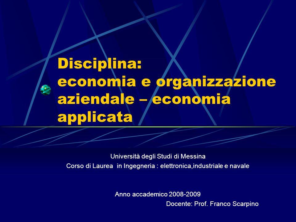 Disciplina: economia e organizzazione aziendale – economia applicata