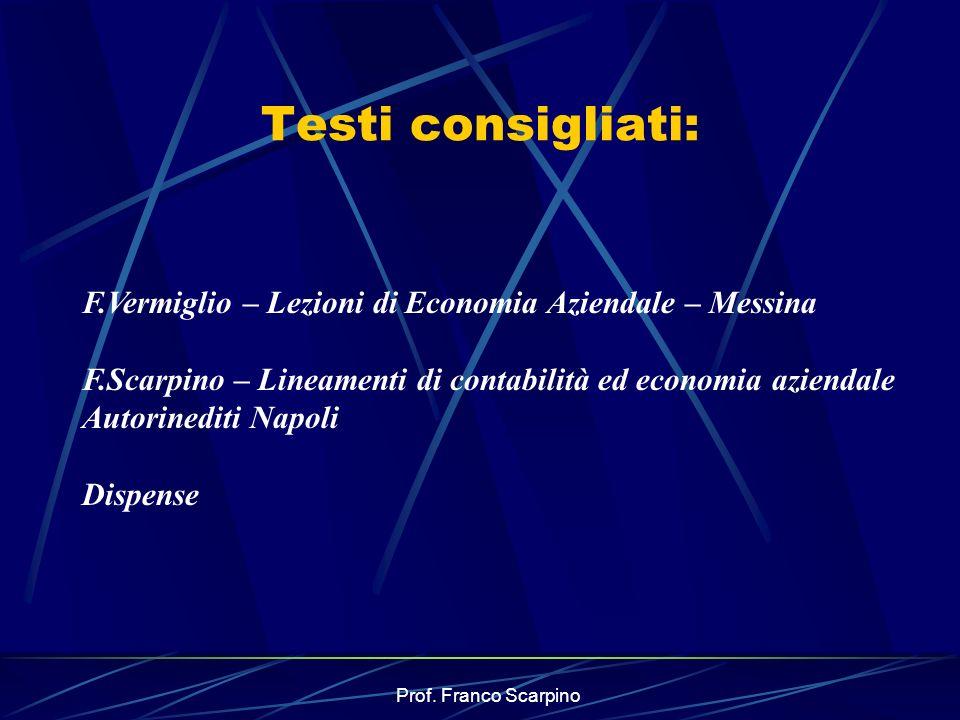 Testi consigliati: F.Vermiglio – Lezioni di Economia Aziendale – Messina.
