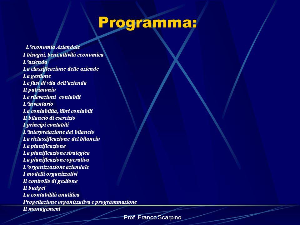 Programma: L'economia Aziendale I bisogni, beni,attività economica