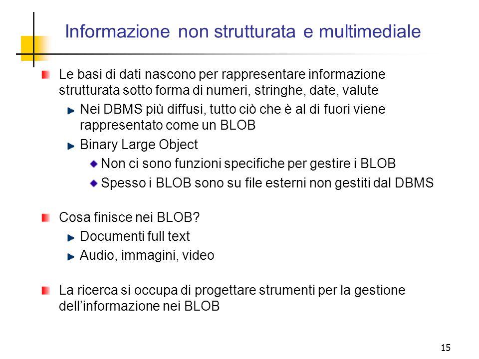 Informazione non strutturata e multimediale