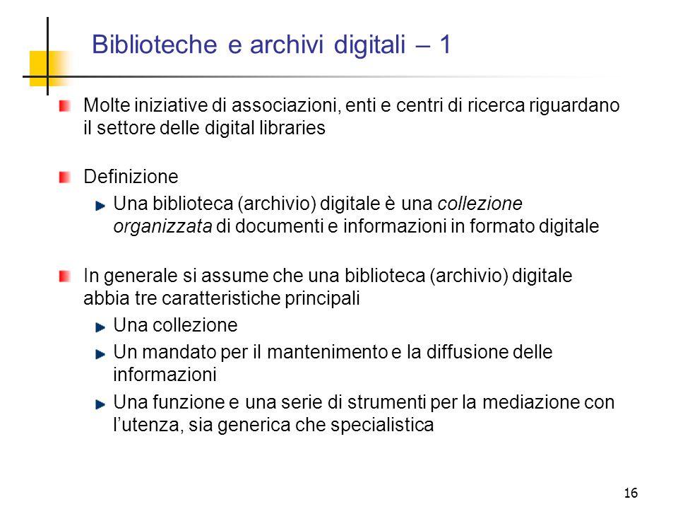 Biblioteche e archivi digitali – 1