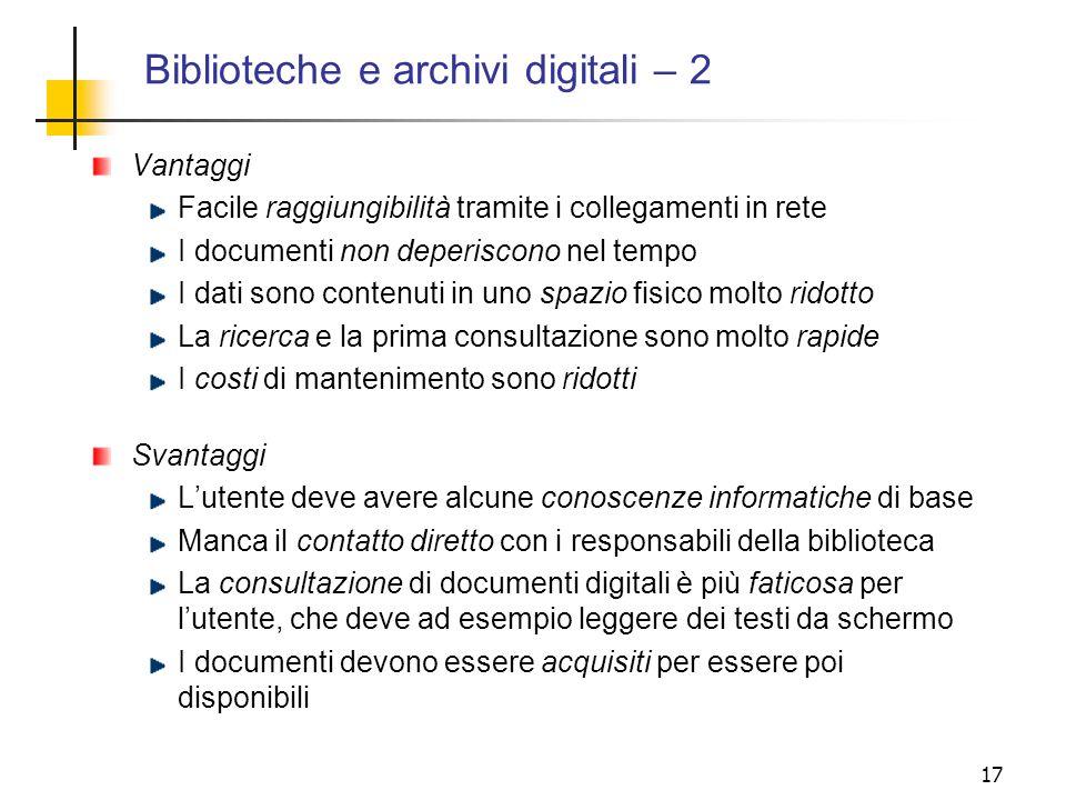 Biblioteche e archivi digitali – 2