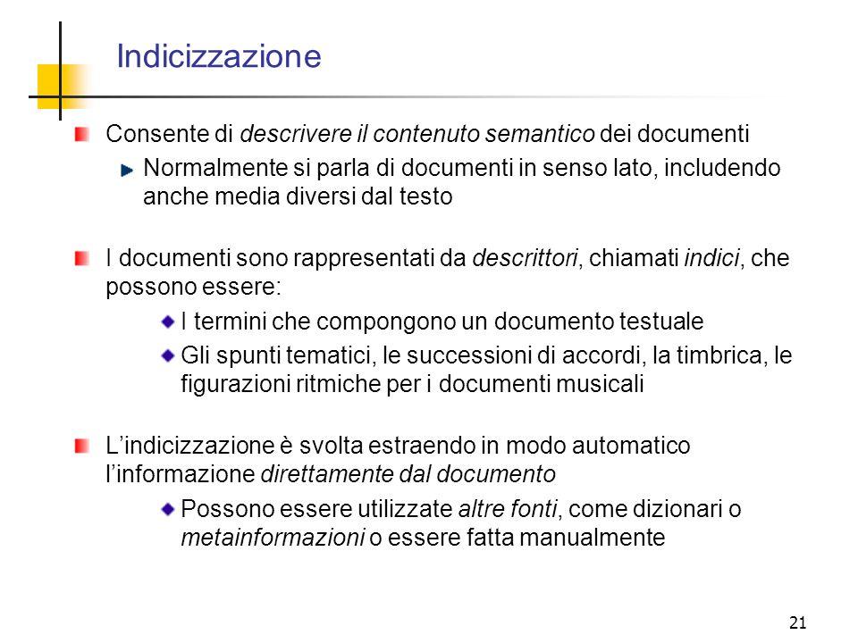 Indicizzazione Consente di descrivere il contenuto semantico dei documenti.