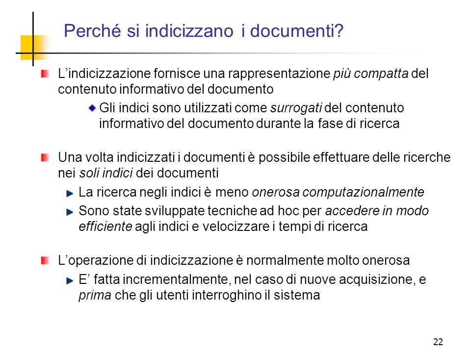 Perché si indicizzano i documenti
