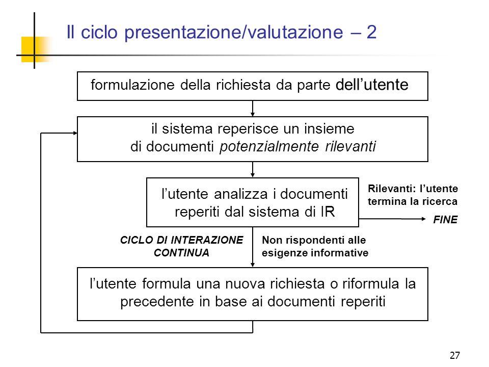 Il ciclo presentazione/valutazione – 2