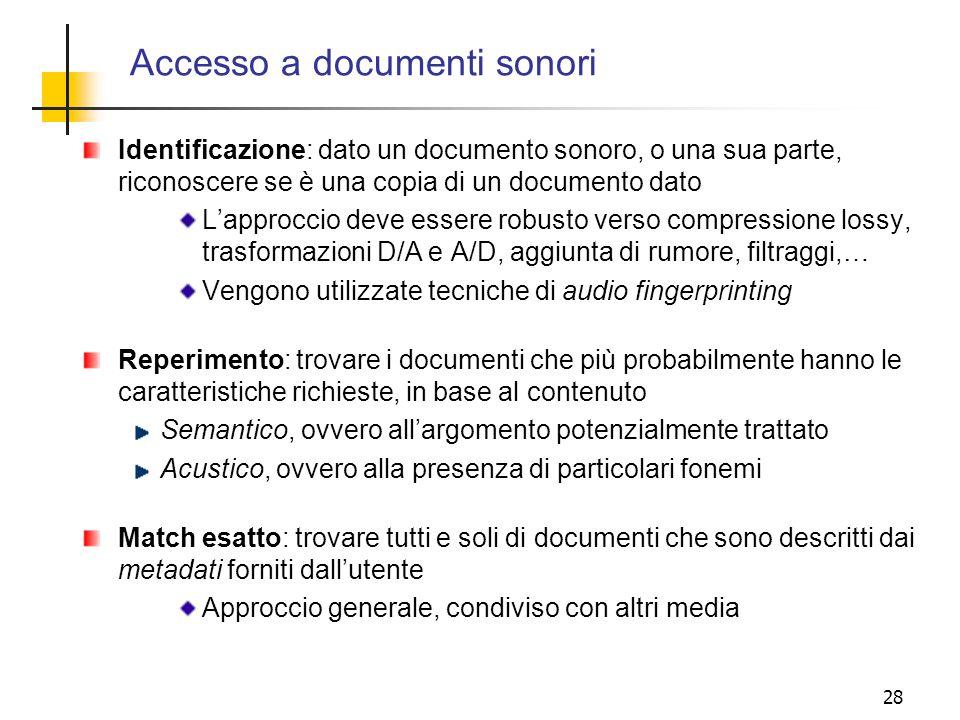 Accesso a documenti sonori