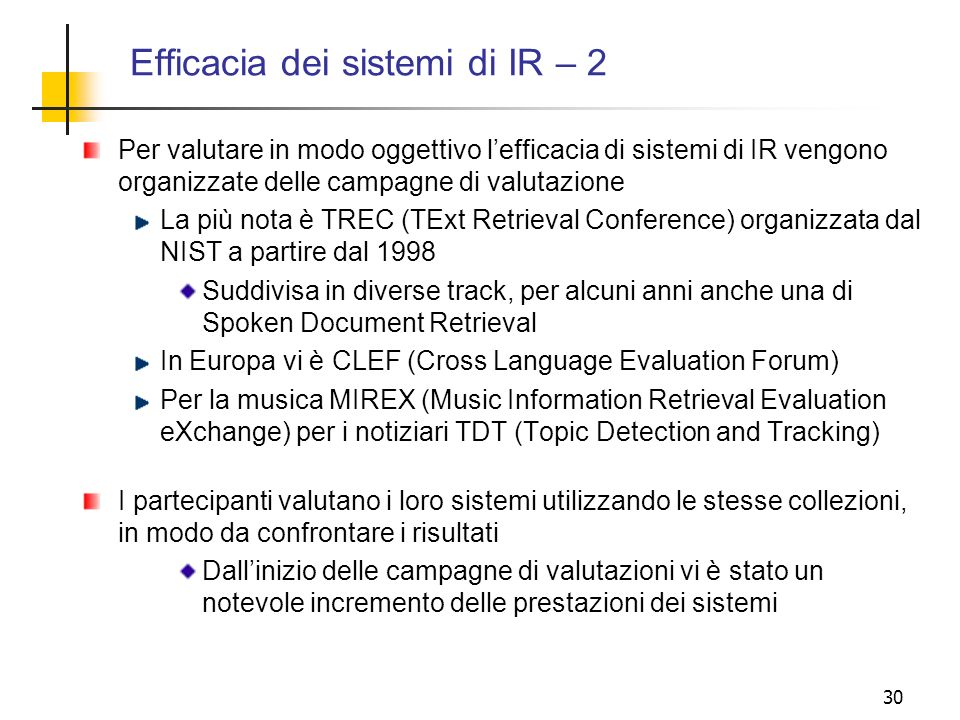 Efficacia dei sistemi di IR – 2