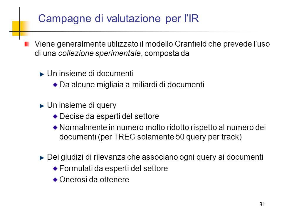 Campagne di valutazione per l'IR