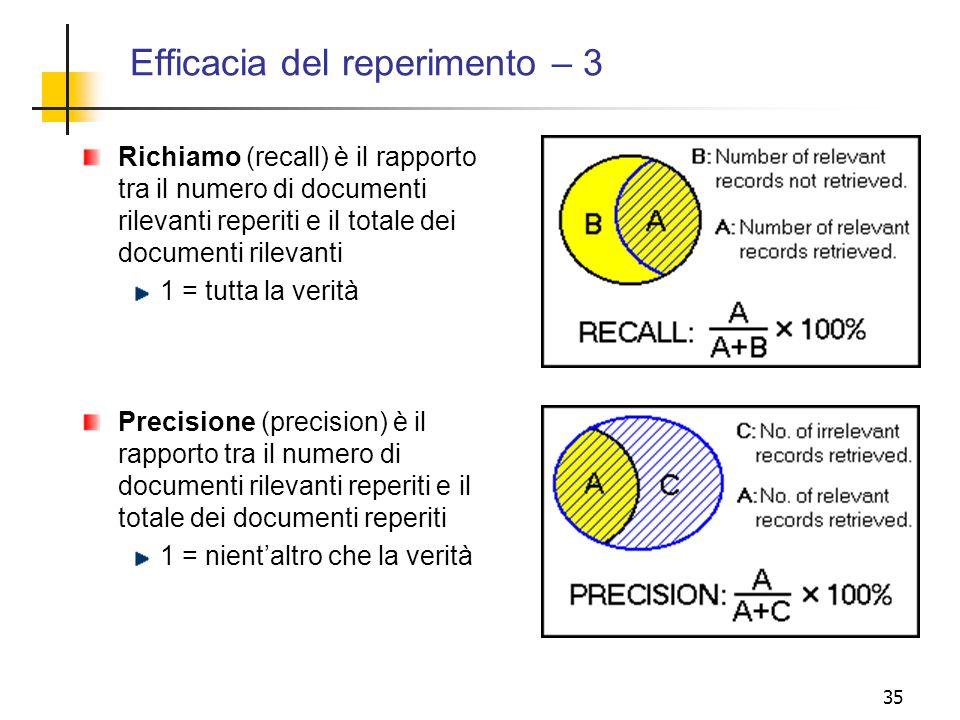 Efficacia del reperimento – 3