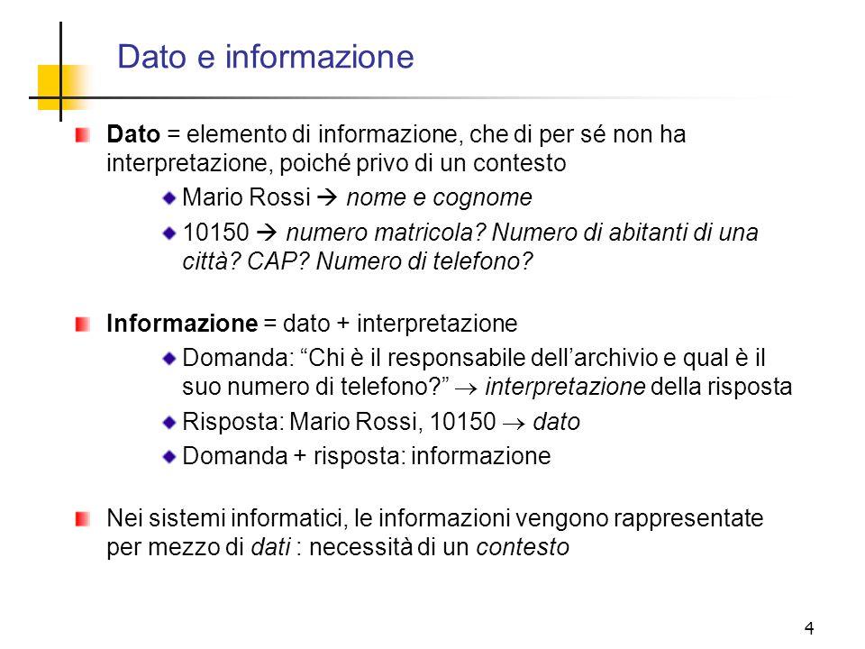 Dato e informazione Dato = elemento di informazione, che di per sé non ha interpretazione, poiché privo di un contesto.