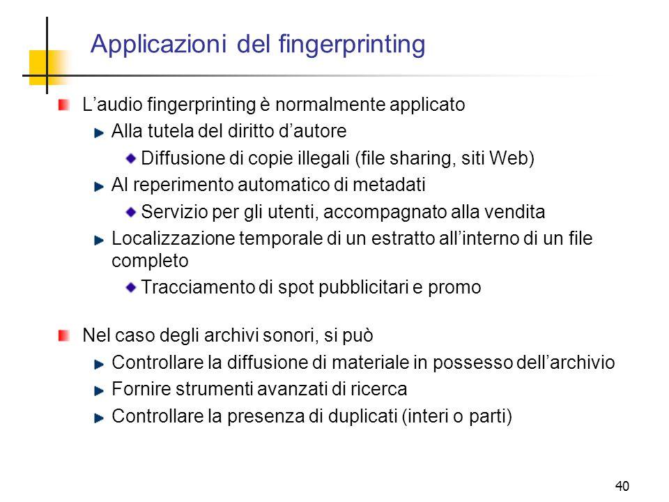 Applicazioni del fingerprinting