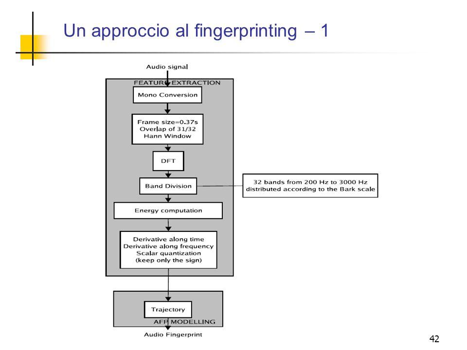 Un approccio al fingerprinting – 1