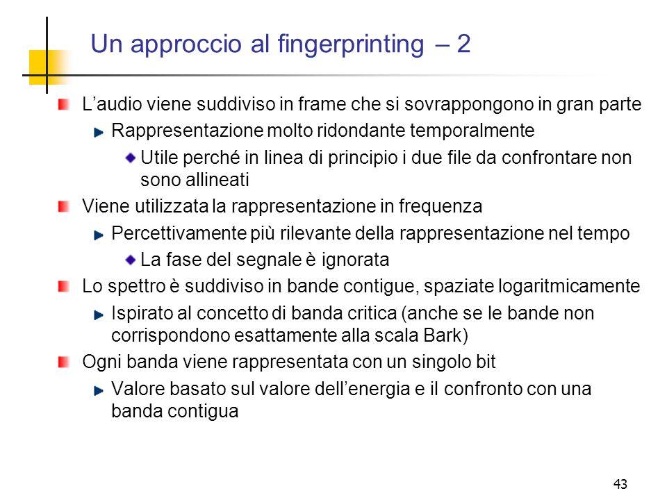 Un approccio al fingerprinting – 2