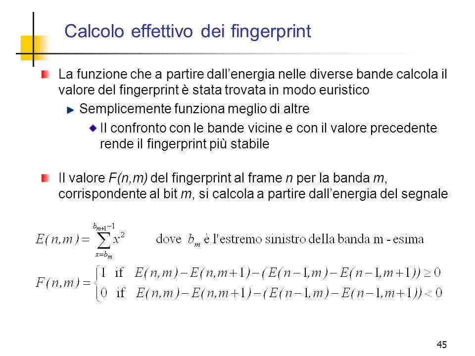 Calcolo effettivo dei fingerprint