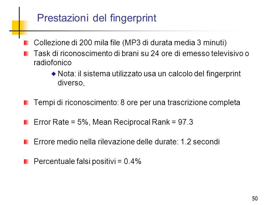 Prestazioni del fingerprint