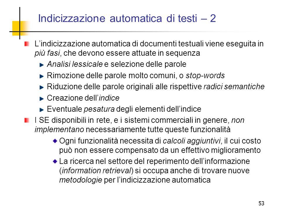 Indicizzazione automatica di testi – 2