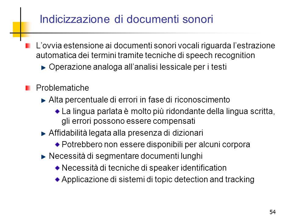 Indicizzazione di documenti sonori
